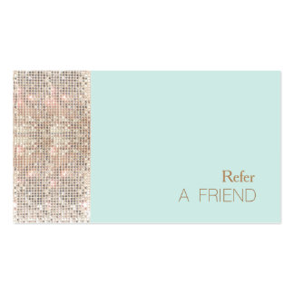 FAUX Sequins Beauty Salon Refer A Friend Turquoise Double-Sided Standard Business Cards (Pack Of 100)