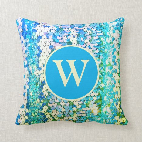 Faux Sequins Blue and Aqua Girly Monogram Throw Pillow