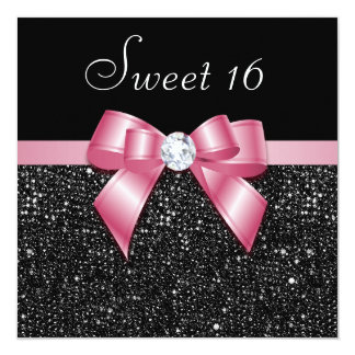 Faux Sequins Diamonds Bow Black Pink Sweet 16 Card