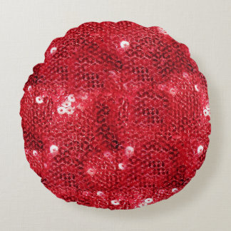 Faux Sequins - Red Sequin Pattern Round Pillow
