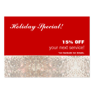 Faux Sequins Salon and Spa Holiday Gift Card Large Business Card