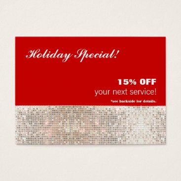 Christmas Themed Faux Sequins Salon Spa Holiday Christmas Gift Card