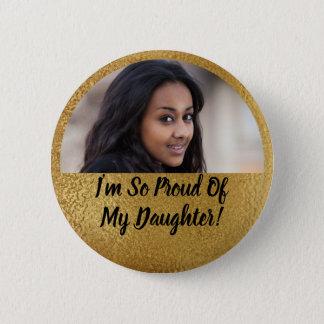 Faux Shimmer Gold Proud Parent Graduation Photo Button