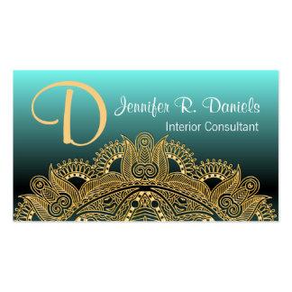 Faux Shiny Gold Trendy Oriental Mandala Pattern Business Card