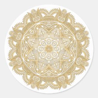 Faux Shiny Gold Trendy Oriental Mandala Pattern Classic Round Sticker
