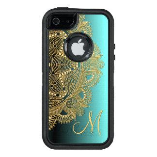 Faux Shiny Gold Trendy Oriental Mandala Pattern OtterBox Defender iPhone Case