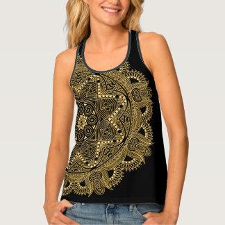 Faux Shiny Gold Trendy Oriental Mandala Pattern Tank Top