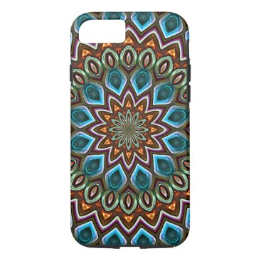 CaseConceptCreations Faux Shiny Orange Teal Turquoise Mandala Pattern iPhone 8/7 Case