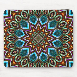 Faux Shiny Orange Teal Turquoise Mandala Pattern Mouse Pad
