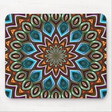 CaseConceptCreations Faux Shiny Orange Teal Turquoise Mandala Pattern Mouse Pad