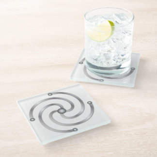 "Faux Silver 4 Armed Spiral for the ""Center"" Glass Coaster"