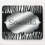 Faux Silver and Black Zebra Personalized Mouse Pad