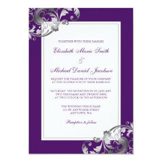 Faux Silver and Purple Flourish Swirls Wedding Card