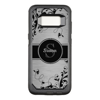 Faux Silver Black Floral Swirls Personalized OtterBox Commuter Samsung Galaxy S8 Case