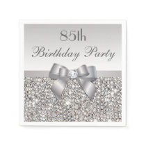 Faux Silver Bow Sequins Diamond Any Age Birthday Napkin
