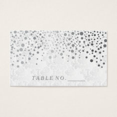 Faux Silver Confetti Dots Place Cards at Zazzle