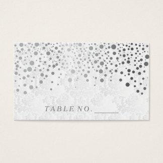 Faux Silver Confetti Dots Place Cards