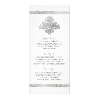 Faux Silver Damask Dinner Party Menu Black Custom