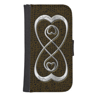 Faux Silver Double Infinity Hearts on Snake Skin Phone Wallet Cases