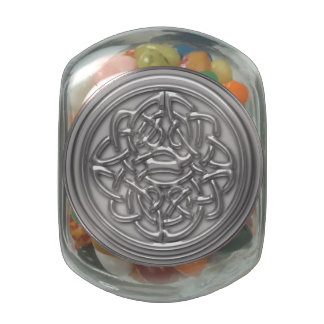 Faux Silver Embossed Look Celtic Knot Badge Glass Jar