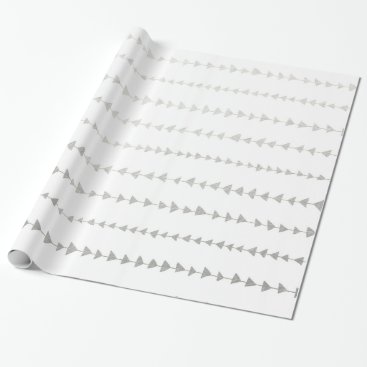 Aztec Themed Faux Silver Foil Arrows Pattern Wrapping Paper