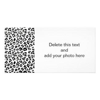 Faux Silver Foil Black Leopard Print Pattern Card