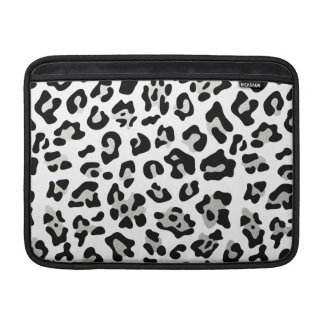 Faux Silver Foil Black Leopard Print Pattern Sleeves For MacBook Air