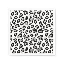 Faux Silver Foil Black Leopard Print Pattern Napkin