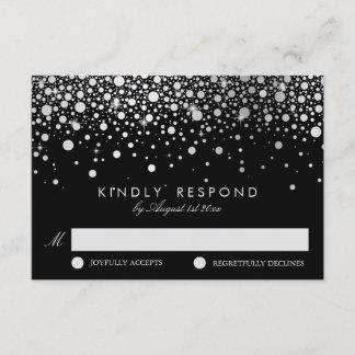 Faux Silver Foil Confetti Black & White RSVP Card