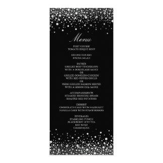 Faux Silver Foil Confetti Dots Black Menu Card