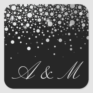 Faux Silver Foil Confetti Dots Black Monogram Square Sticker