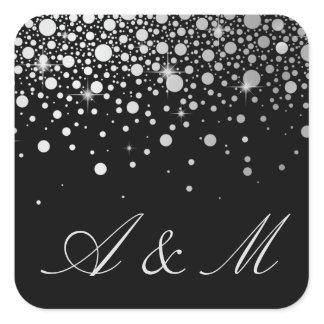 Faux Silver Foil Confetti Dots Black Monogram Square Sticker