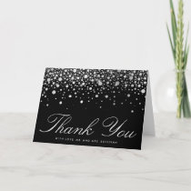 Faux Silver Foil Confetti Dots Black Thank You