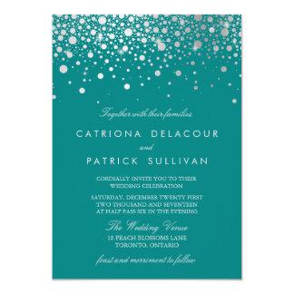 Faux Silver Foil Confetti Dots Teal Wedding Invitation
