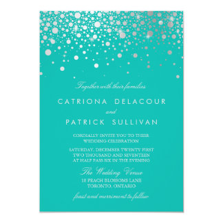 Faux Silver Foil Confetti Dots Turquoise Wedding Card