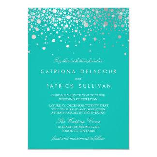 Faux Silver Foil Confetti Dots Turquoise Wedding Card