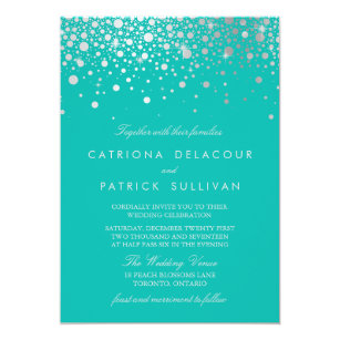 Turquoise Silver Wedding Invitations Zazzle