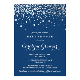 Faux Silver Foil Confetti | Navy Baby Shower Card