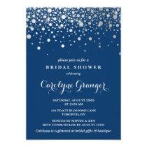 Faux Silver Foil Confetti | Navy Bridal Shower Card