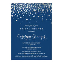 Faux Silver Foil Confetti | Navy Bridal Shower Invitation