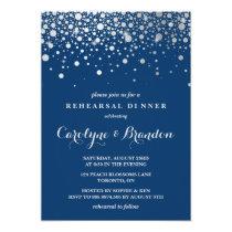 Faux Silver Foil Confetti | Navy Rehearsal Dinner Card