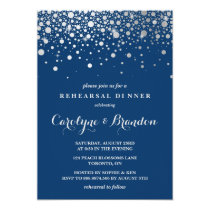 Faux Silver Foil Confetti | Navy Rehearsal Dinner Invitation