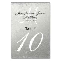 Faux Silver Foil Wedding Table Number Card
