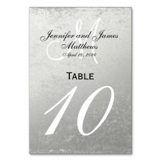 Faux Silver Foil Wedding Table Number Card Table Card