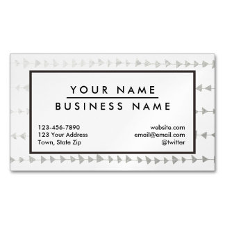 Faux Silver Foil White Arrows Pattern Business Card Magnet