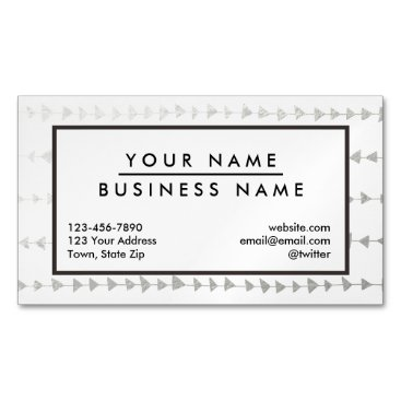 Aztec Themed Faux Silver Foil White Arrows Pattern Business Card Magnet