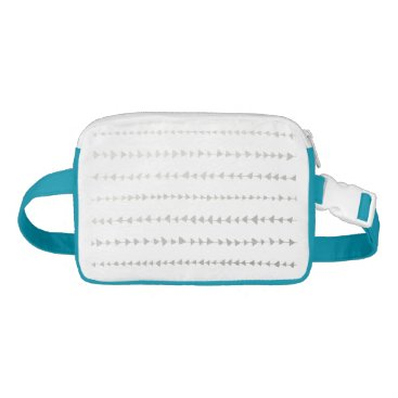 Aztec Themed Faux Silver Foil White Arrows Pattern Fanny Pack