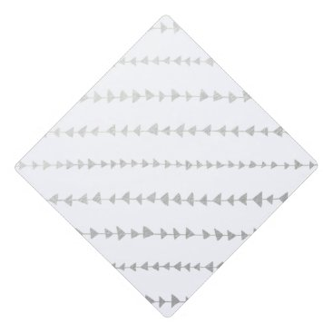 Aztec Themed Faux Silver Foil White Arrows Pattern Graduation Cap Topper