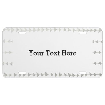 Aztec Themed Faux Silver Foil White Arrows Pattern License Plate