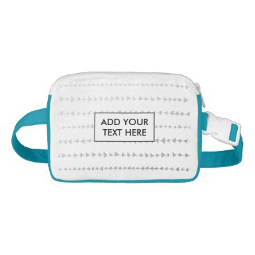 Aztec Themed Faux Silver Foil White Arrows Pattern Waist Bag